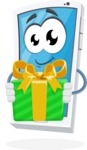 Mobile Phone Cartoon Vector Character - Holding a Gift