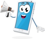 Mobile Phone Cartoon Vector Character - Holding a Loudspeaker