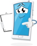 Mobile Phone Cartoon Vector Character - Holding a Notepad