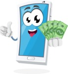 Mobile Phone Cartoon Vector Character - Holding Cash Money Banknotes