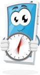 Mobile Phone Cartoon Vector Character - Holding Clock