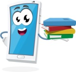 Mobile Phone Cartoon Vector Character - Holding Education Books