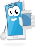 Mobile Phone Cartoon Vector Character - Holding Mobile Phone