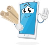Mobile Phone Cartoon Vector Character - Holding Papers