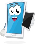 Mobile Phone Cartoon Vector Character - Holding Tablet