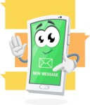 Mobile Phone Cartoon Vector Character - Illustration for Message App Communication