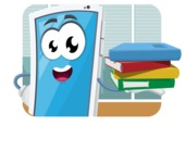 Mobile Phone Cartoon Vector Character - In Office Illustration Concept