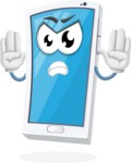 Mobile Phone Cartoon Vector Character - Making stop gesture