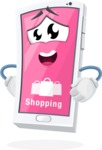 Mobile Phone Cartoon Vector Character - Online Shopping