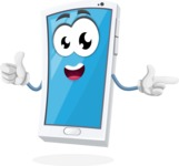 Mobile Phone Cartoon Vector Character - Pointing and Smiling
