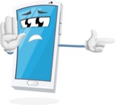 Mobile Phone Cartoon Vector Character - Pointing with a Finger