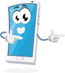 Mobile Phone Cartoon Vector Character - Pointing with Hands