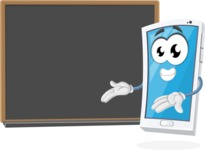 Mobile Phone Cartoon Vector Character - Presenting on Blank Blackboard