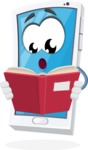 Mobile Phone Cartoon Vector Character - Reading a Book