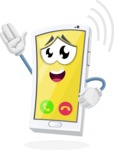 Mobile Phone Cartoon Vector Character - Ringing with Incoming Call