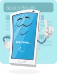 Mobile Phone Cartoon Vector Character - Search Results Illustration Concept