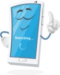 Mobile Phone Cartoon Vector Character - Searching Files