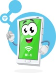 Mobile Phone Cartoon Vector Character - Searching for Wi Fi Illustration