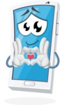 Mobile Phone Cartoon Vector Character - Showing Love with Heart