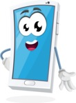 Mobile Phone Cartoon Vector Character - Smiling