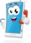 Mobile Phone Cartoon Vector Character - Talking on Phone