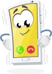 Mobile Phone Cartoon Vector Character - Vibrating with Incoming Call