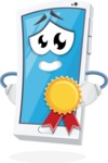 Mobile Phone Cartoon Vector Character - Winning a Prize