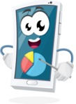 Mobile Phone Cartoon Vector Character - With a Business Pie Chart