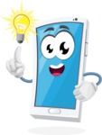 Mobile Phone Cartoon Vector Character - with an Idea
