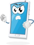 Mobile Phone Cartoon Vector Character - With Angry Face