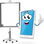 Mobile Phone Cartoon Vector Character - With Blank Presentation Board