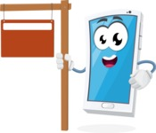 Mobile Phone Cartoon Vector Character - With Blank Real Estate Sign