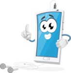 Mobile Phone Cartoon Vector Character - With Earphones