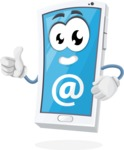Mobile Phone Cartoon Vector Character - With Email Sign