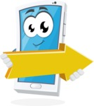 Mobile Phone Cartoon Vector Character - with Forward Arrow