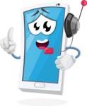 Mobile Phone Cartoon Vector Character - With Headphones