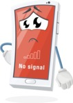 Mobile Phone Cartoon Vector Character - with No Signal