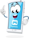 Mobile Phone Cartoon Vector Character - With Opened Game App Playing Mobile Games