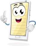 Mobile Phone Cartoon Vector Character - With Opened Notepad App