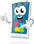 Mobile Phone Cartoon Vector Character - with Puzzle