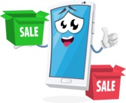 Mobile Phone Cartoon Vector Character - With Sale Boxes