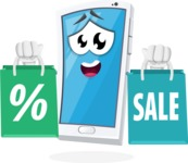 Mobile Phone Cartoon Vector Character - With Shopping Bags