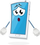 Mobile Phone Cartoon Vector Character - With Stunned Face