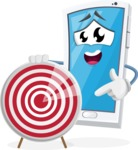 Mobile Phone Cartoon Vector Character - With Target