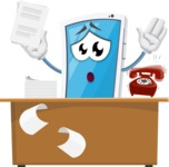 Mobile Phone Cartoon Vector Character - Working On Desk and Stressed from Work
