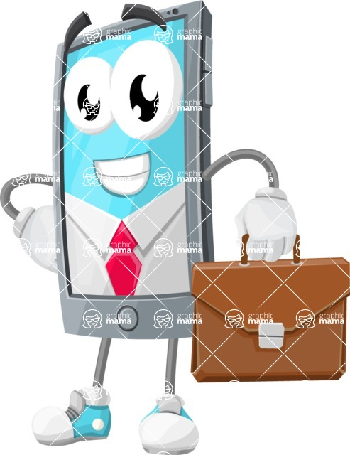 Smart Phone Cartoon Vector Character - As a Businessman with Briefcase