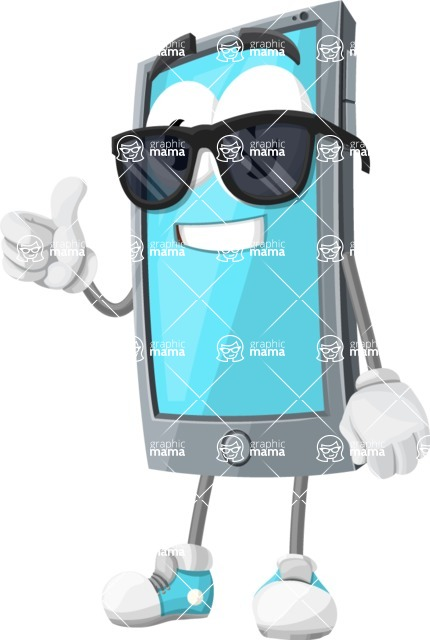 Smart Phone Cartoon Vector Character - Being Cool with Sunglasses