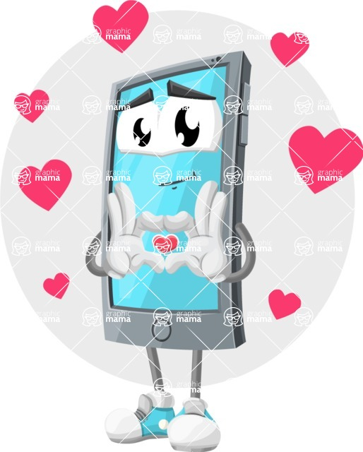 Smart Phone Cartoon Vector Character - Being Romantic and Inloved Illustration