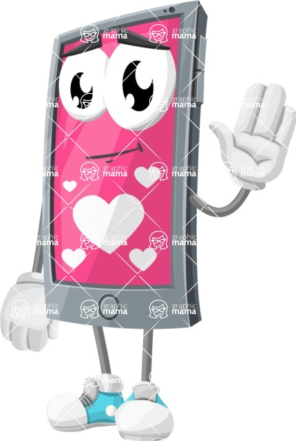 Smart Phone Cartoon Vector Character - Being Romantic With Heart