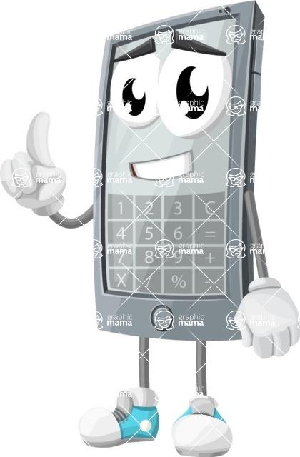 Smart Phone Cartoon Vector Character - Calculator